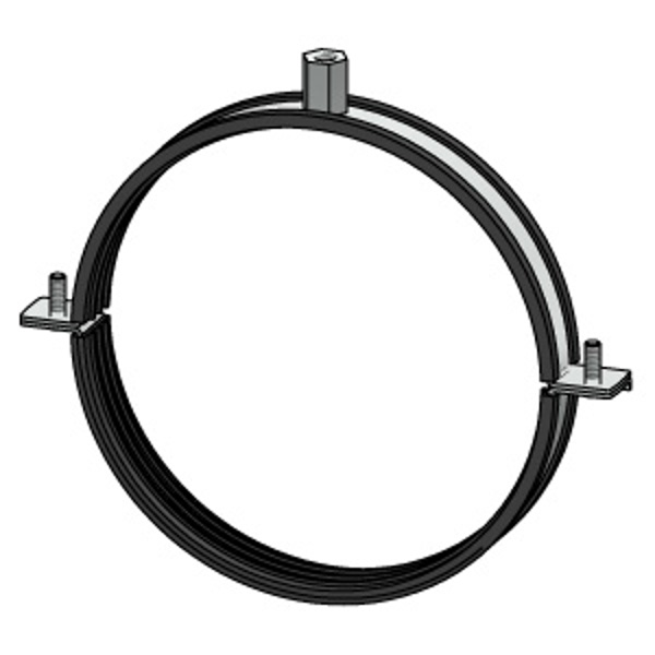 Double ear galvanised steel clamp with rubber gasket for