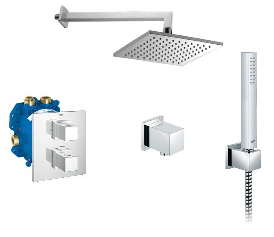 Full concealed shower set grohe grohtherm cube omnires for Full bathroom sets